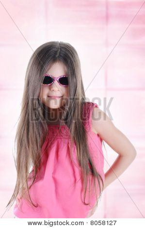 Little Long-haired Brunette In Sunglasses