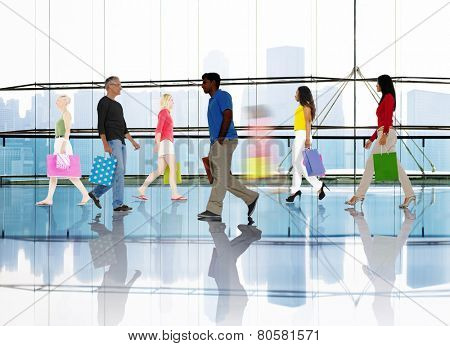 Silhouette People Walking Spending Shopping Mall Urban Scene
