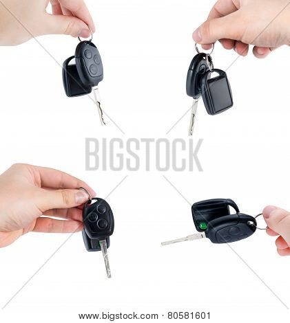 Car Keys With Remote Control. Set Isolated On White Background