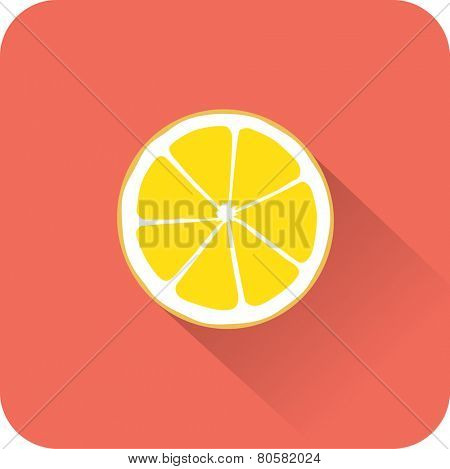 Lemon icon. Flat design style modern vector illustration. Isolated on stylish color background. Flat long shadow icon. Elements in flat design.