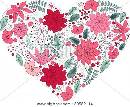 Floral heart made of different flowers