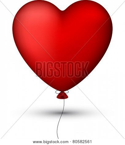 Vector illustration of red balloon heart. eps 10. Classical smooth style.
