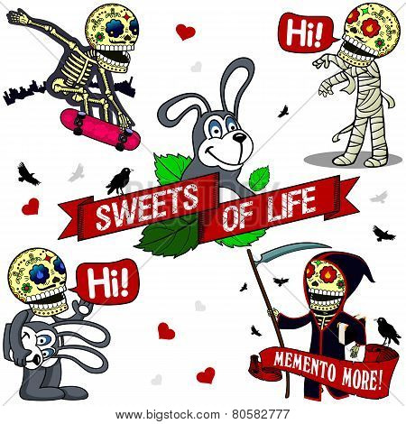 Funny Skeletons. Sweets Of Life.