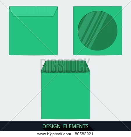 Green Stationery. Blank Compact Disc Envelope With Window