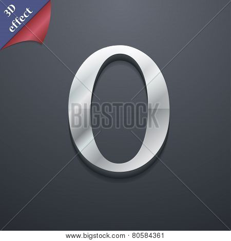 Number Zero Icon Symbol. 3D Style. Trendy, Modern Design With Space For Your Text Vector