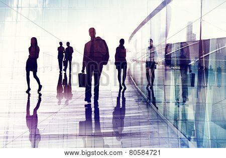 Business People Travel Walking Commuter Corporate Occupation Concept