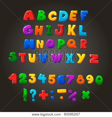 Multicolored kids Vector Font,  letters, numbers and orthographic symbols