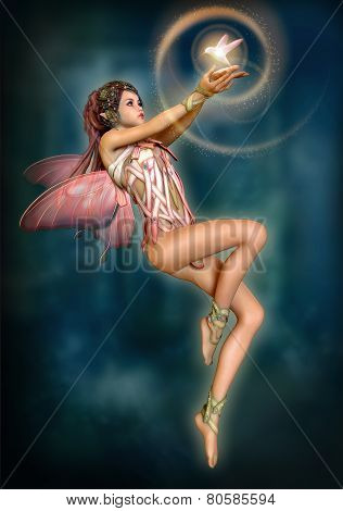 Fairy With Glowing Bird, 3D Cg