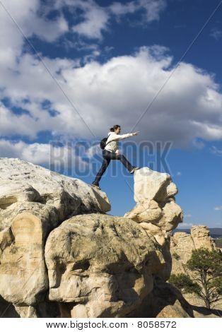 Tourist In El Morro National Monument