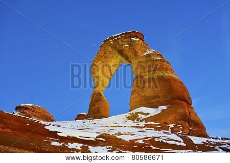 Delicate Arch At Night In Arches National Park, Utah In Winter