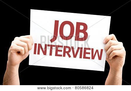 Job Interview card isolated on black background