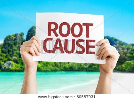 Root Cause card with a beach on background