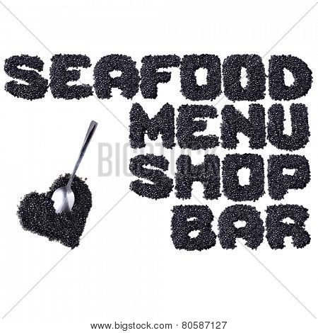 Seafood - Words made of black caviar