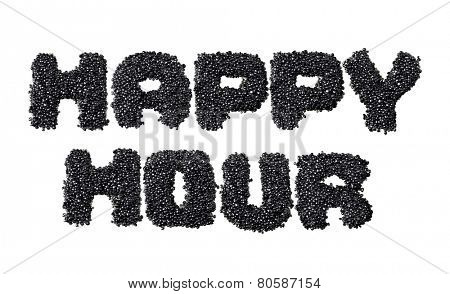 Text Happy Hour made of black caviare