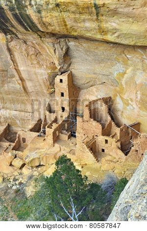 Reconstruction Of The Square Tower In Mesa Verde National Park, Colorado In Winter