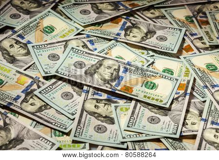 Business finance concept background of hundred dollars bank notes bills of new 2013 year edition