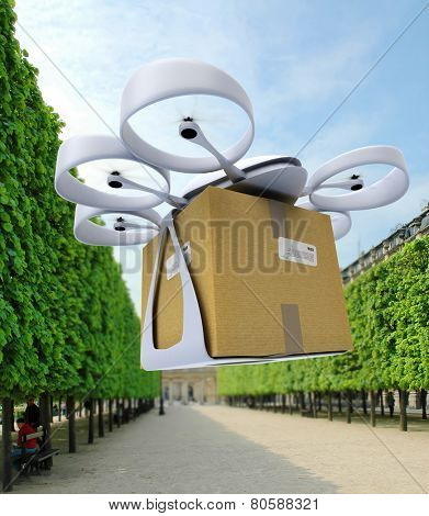 3D rendering of a commercial drone landing in an urban park