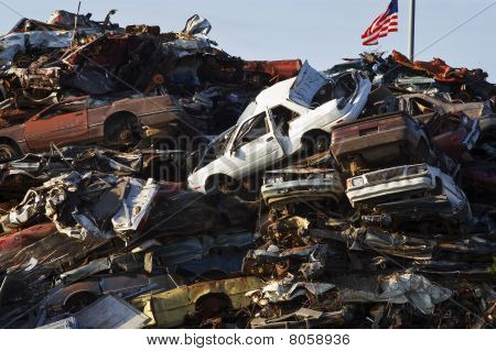 Crushed Cars Piled High