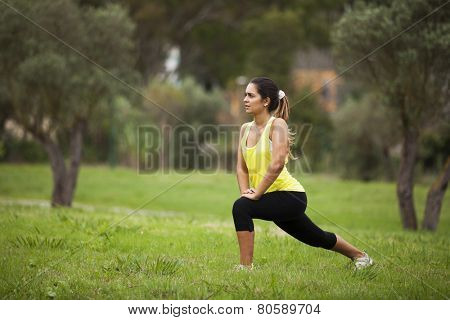 Young woman exercising in outdoor