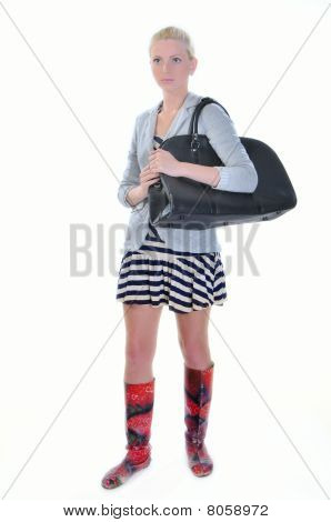 Young Adult Woman With Road Bag