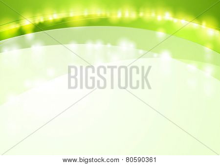 Green shiny waves abstract background. Vector design