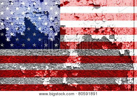 USA flag painted on grunge wall