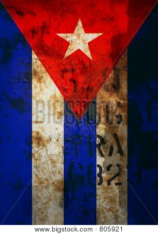 Distressed cuban flag