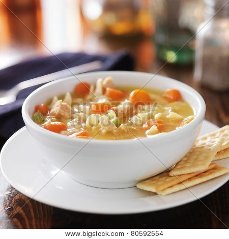 hot bowl of chicken noodle soup