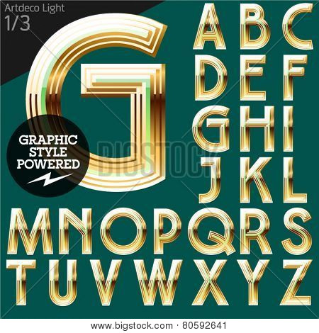 Vector alphabet of beveled golden letters. Art-deco light. File contains graphic styles available in Illustrator. Set 1
