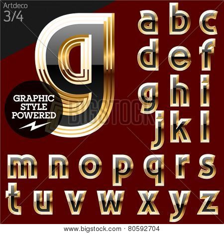 Vector font of beveled golden letters. Art-deco. File contains graphic styles available in Illustrator. Set 3