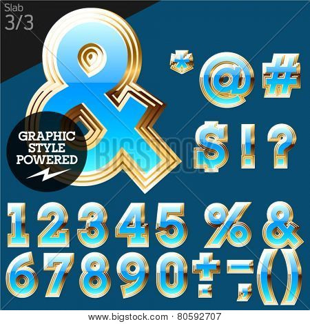 Blue alphabet with golden border. Stab. File contains graphic styles available in Illustrator. Set 2