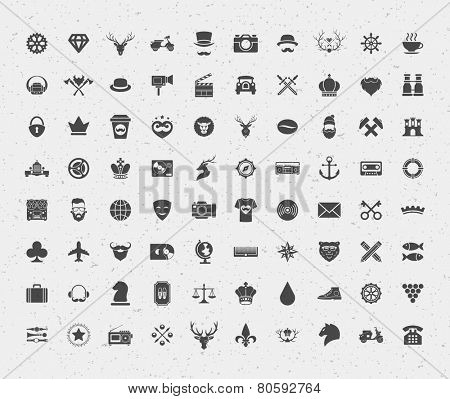 80 retro style objects for isnsignia, t shirt, label design. Constains objects and icons: hipster, deer, lions, hipster, crown, bear, heart and other. Vector illustration.