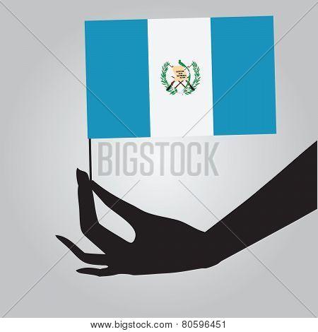 Hand With Flag Guatemala