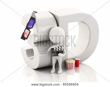 white man with popcorn and drink.