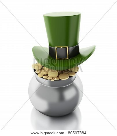 3D Illustration. St. Patrick's Hat With Pot With Gold Coins.