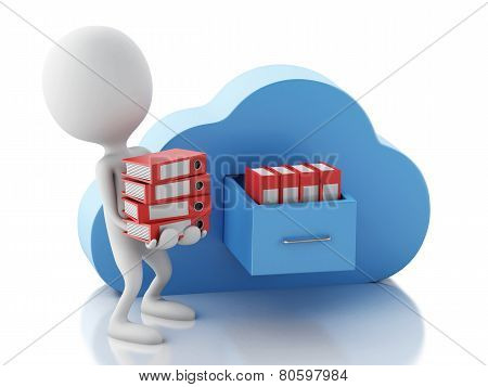 3d white people with file storage and cloud. Cloud computing con