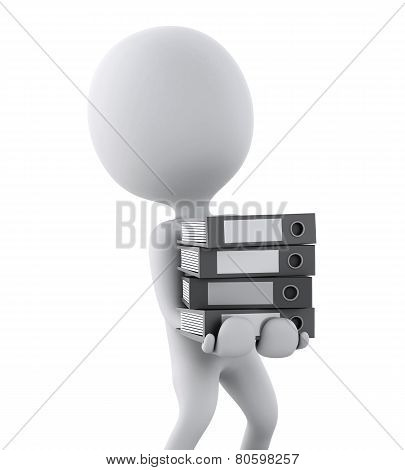 3D White People With Office Ring Binders. Isolated White Background