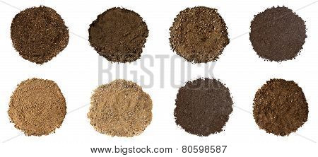 Set Of Soil On White Background