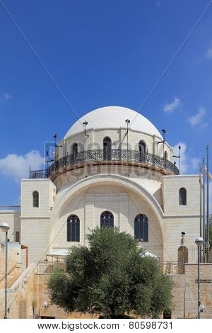 The famous marble restored Hurva Synagogue. Jerusalem, Israel