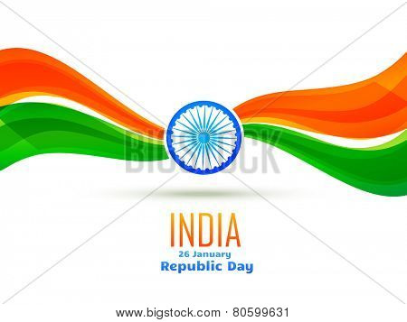 vector republic day design made in wave style celebrated on 26 january