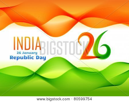 vector indian  republic day design celebrated on 26 january made in wave style illustration