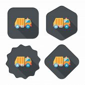 picture of trash truck  - Transportation Garbage Truck Flat Icon With Long Shadow - JPG