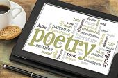 picture of poetry  - poetry word cloud on a digital tablet with cup of coffee - JPG