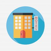 image of motel  - Building Motel Flat Icon With Long Shadow - JPG