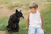 picture of heartwarming  - Teenage boy and his animal dog friend - JPG