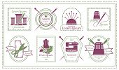 picture of tailoring  - Assorted Retro Tailor Labels or Needleworks Emblems Graphic Designs on White Background - JPG