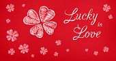 stock photo of red clover  - Lucky in Love red greeting banner - JPG