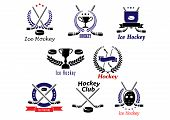 foto of ice hockey goal  - Ice hockey club logo and emblems with crossed hockey sticks - JPG