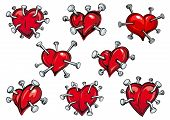 picture of love hurts  - Red hearts pierced by nails in cartoon style for tattoo or any love concept design - JPG