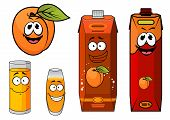 foto of apricot  - Cartoon apricot juice characters in different design cardboard packaging with orange apricot fruit and filled glasses - JPG